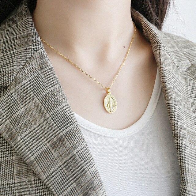 Loioloy Real de plata 925 Virgen María collar oro medallón collar Madre María colgante religioso. católica regalo