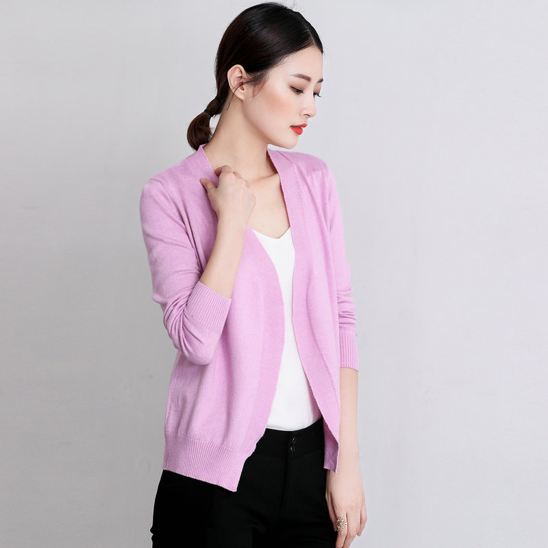 Spring autumnNEW lady Cashmere blended knitted Cardigan Sweater pure color Loose small jacket fashion knit Cardigan Wool Sweater