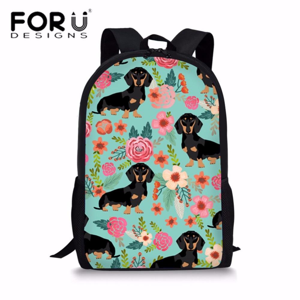 FORUDESIGNS Doxie Собака Такса детские школьные сумки школьный рюкзак для подростков девочек цветок опрятный Школьный Сумка Bolsa