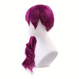Image 4 - Agonia uścisk K/DA Evelynn czerwonawy fiolet długa peruka przebranie na karnawał KDA kobiety żaroodporne syntetyczne peruki do włosów