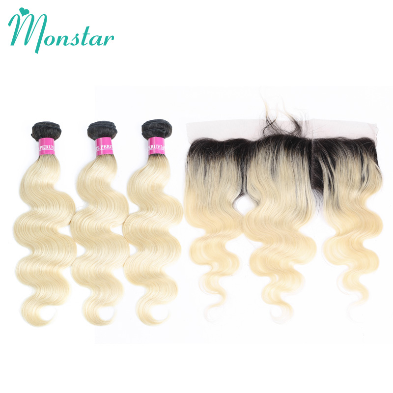 Monstar 1B 613 Dark Roots Ombre Blonde 3 4 Peruvian Body Wave Bundles with Frontal 1B