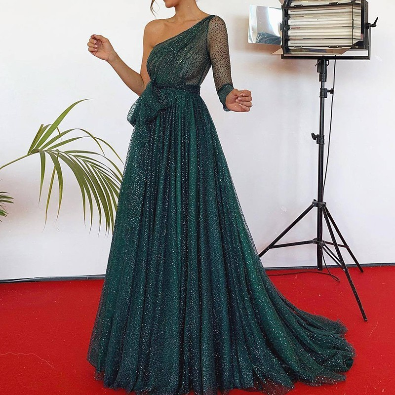 Green Party Dress Women Summer 2019 Fashion One Shoulder Sexy Sequin Dress Ladies Backless Pleated A Line Long Dresses For Women in Dresses from Women 39 s Clothing