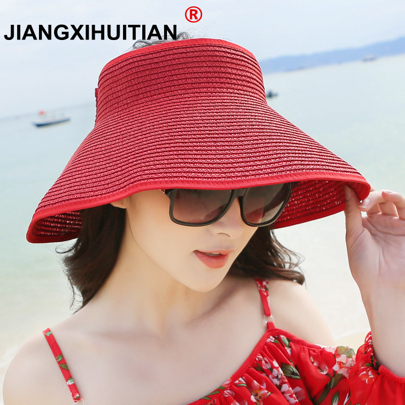 Sun Visor Beach Hat Ladies Visor Foldable Wide-breasted Female Summer Sun Hat Ladies Hat Summer Wide-brimmed Straw Hat