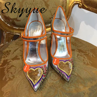 SKYYUE Новый Натуральная кожа серебро в форме сердца Marry Janes Для женщин насосы острый носок Для женщин обувь на высоком каблуке Для женщин