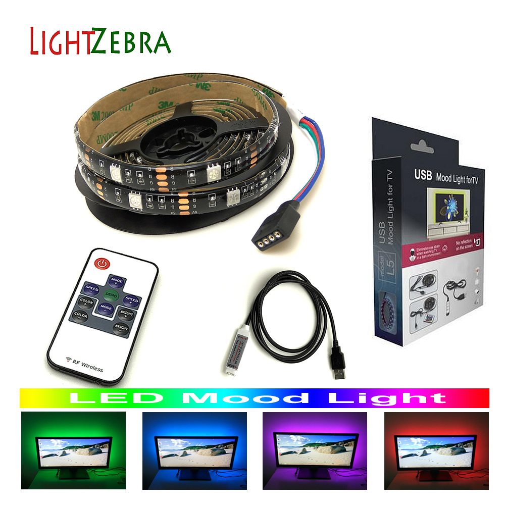 LED mood light strips 5050 RGB 6.6ft 60 LEDs for TV PC monitor with RF wireless 10key remote controller 5V usb powered backlight