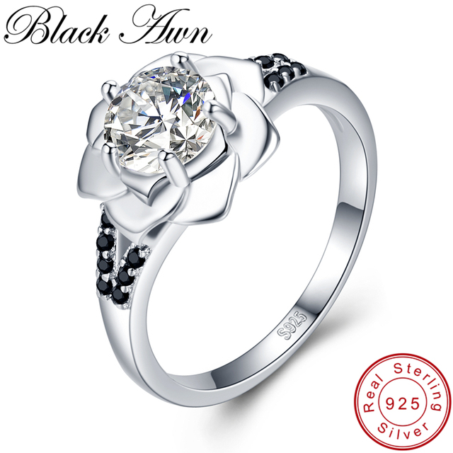 [BLACK AWN] 925 Sterling Silver Ring Female Bague Flower Trendy Wedding Rings for Women Sterling Silver Jewelry G073