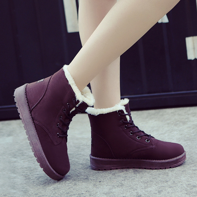 Ankle Boots New Coltsfoot Winter Boots Female Add Hair Thickening Flat Students Female Boots Fashion Short Tube Lace-up Shoes Is Comfortable