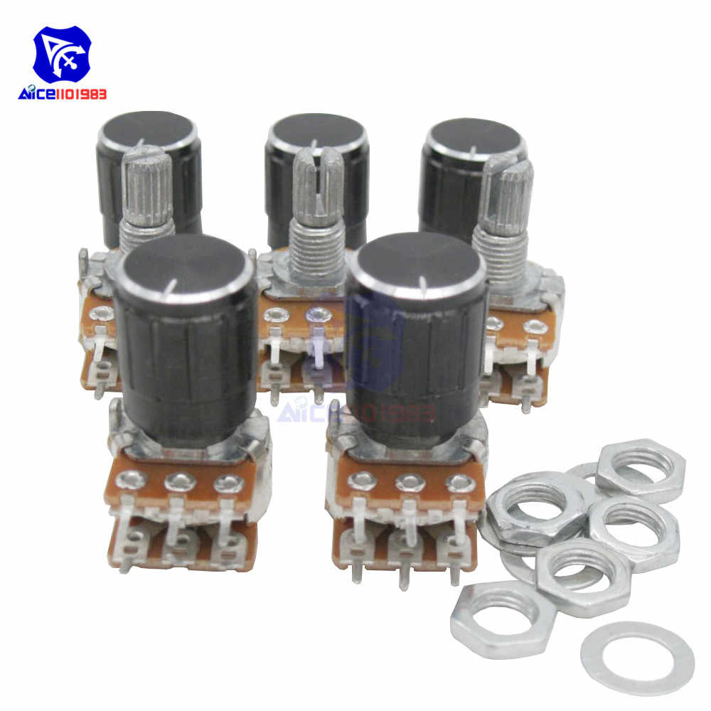 1PC Potentiometer Resistor 1K 2K 5K 10K 20K 50K 100K 500KΩ Ohm WH148 6Pin Linear Taper Rotary Potentiometer for Arduino w/Knob