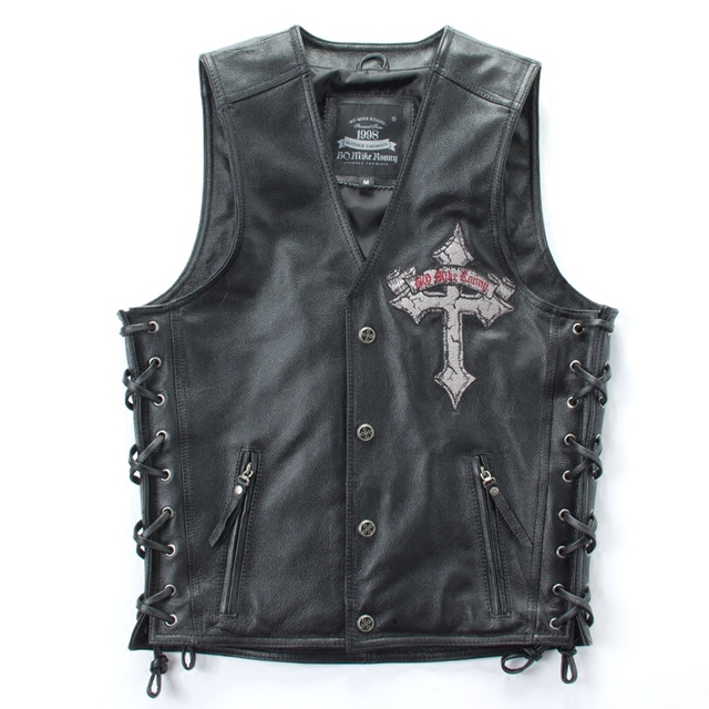 MEN SKULL CROSS EMBROIDERY GENUINE COW LEATHER VEST JACKET
