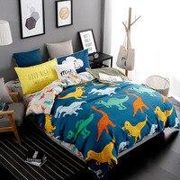 4pcs Set Kids Room Cartoon Fruit Bedding Sets Dinosaur Pattern Bed Duvet Cover Bed Sheet Pillowcases