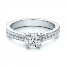 Elegant Brilliant 0.8CT Center Synthetic Diamond Solid 9k Gold Jewelry White Gold Engagement Wedding Ring Accents Ring