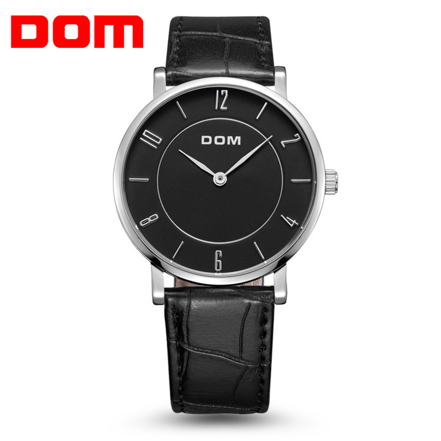 DOM Leather Men Watch 2018 Top Brand Luxury Famous Ultra-thin Wristwatch Male Clock Waterproof Quartz Watch Relogio Masculino famous brand role luxury men watch quartz sport watch men stainless steel wristwatch male clock waterproof relogio masculino new