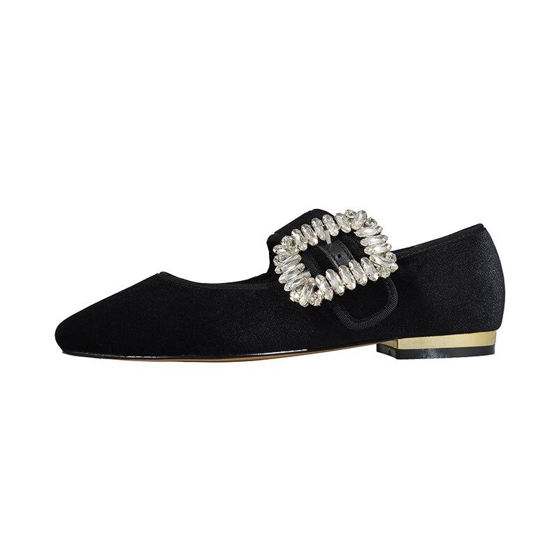 Mary Chaussures 2019 Brown Boucle Jane Fille Femmes Appartements Femme light Noir Printemps Cristal Casual Isnom Bout rose Nouveau apricot Pleuche Carré wqvXqO1