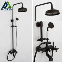 High Quality Oil Rubbed Bronze Bathroom 8 Shower Faucet Set Rainfall Round Shower Tub Taps