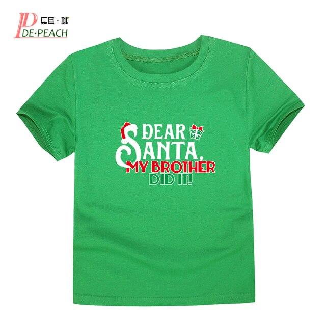f899ef8fd DE PEACH Kids Christmas Short sleeves T-shirts For Boys Cotton Girls Boys  Simple Casual Letter Printing T-shirt Summer Santa Tee