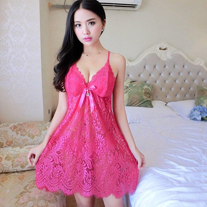 2019 Backless Woman Nightgown Sexy Lace Women Pyjamas High End Embroidered Night Dress Charming Lingerie Sleepwear Nightwear in Nightgowns Sleepshirts from Underwear Sleepwears