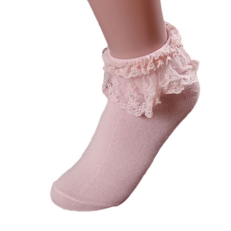 HTB1zjEewYArBKNjSZFLq6A dVXam - Retro Pink Lace Ankle Ruffle Socks Women Ladies Girl Fashion Vintage