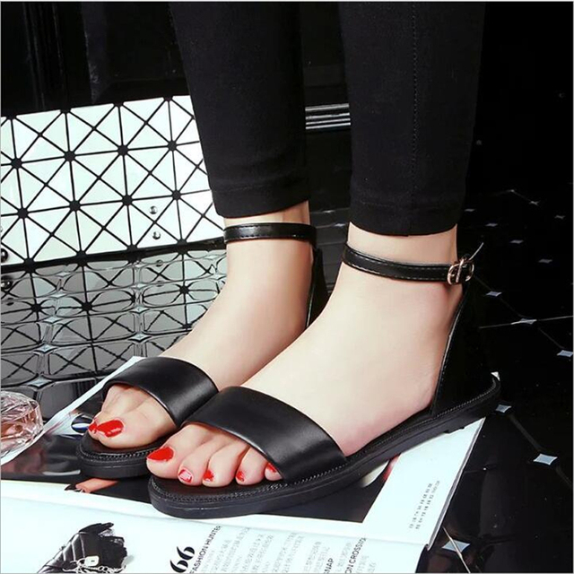 POADISFOO 2017 New fashion summer pure  color pu sandals  with comfy  Wedge Ankle Strap  flat with beads  For Women .HYKL-1603