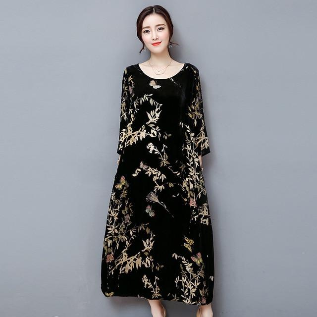 6cc4f7edd4cc4 Sonbahar Kış Siyah Kadife Elbise Uzun Kollu Vintage Çiçekli Baskı Gevşek  Uzun Maxi Elbiseler Kadın Kadın