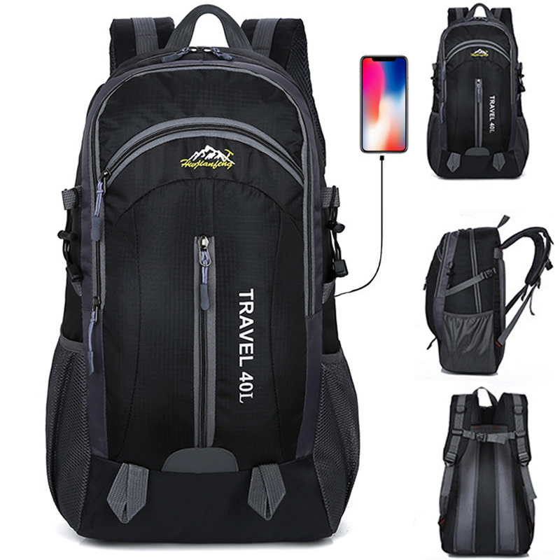 New Men Backpack Usb Charging 40l Large Capacity Out Door For Male Bag Waterproof Casual Backpacks Unisex Black Travel Backpacks