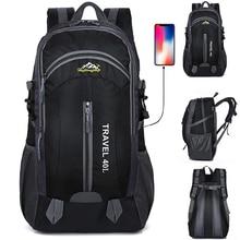 New Men Backpack USB Charging 40L Large Capacity Out Door For Male Bag Waterproof Casual Backpacks Unisex Black Travel Backpacks