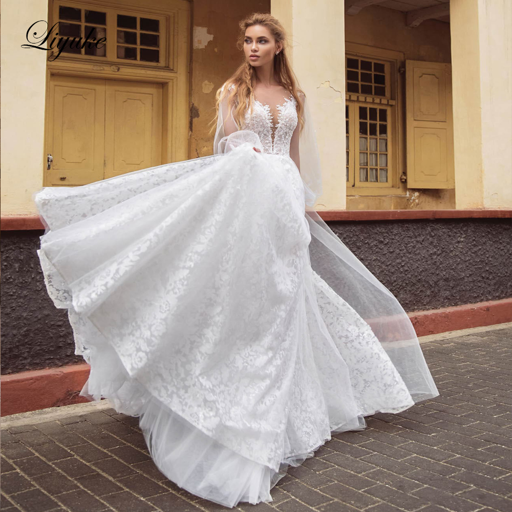 Liyuke Elegant Lace Wedding Dress Of A Line Bride Dress Full Sleeve Lose With Sweep Train