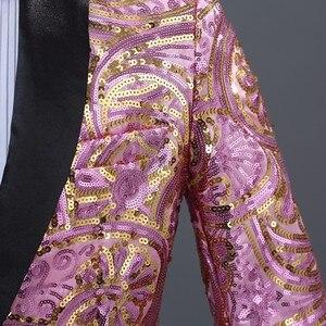 Image 2 - PYJTRL メンズピンクゴールド花スパンコールファンシー Paillette のウェディング歌手ステージパフォーマンススーツジャケット年次 DJ ブレザーと蝶ネクタイ