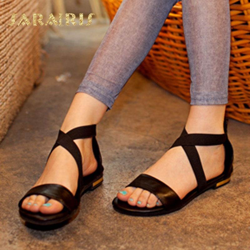 SaraIris 2018 Vintage Ankle Cross Strap Comfortable Flat Summer Genuine Leather Shoes Woman Sandals Large Size 31-46 Black