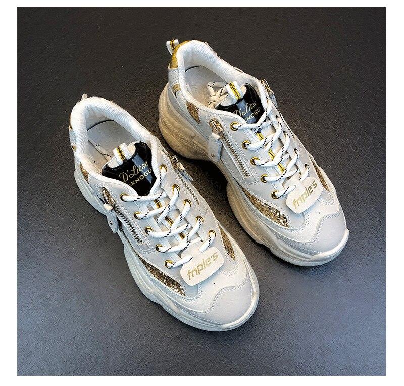 Donne Reale Bianco 5 Pelle Lace Signore Delle Centimetri Talloni Up Sneakers Della Mujer Espadrillas Calzature Piattaforma Paillettes Casual 6 In Zapatillas frf5qw