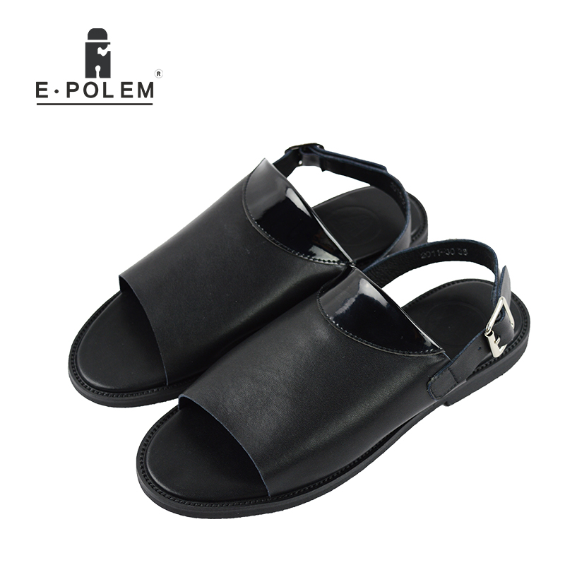 2017 Summer New Style Casual Men Black Genuine Leather Beach Sandals Tide Fashion Male Hollow Out Pure Color Rome Sandals