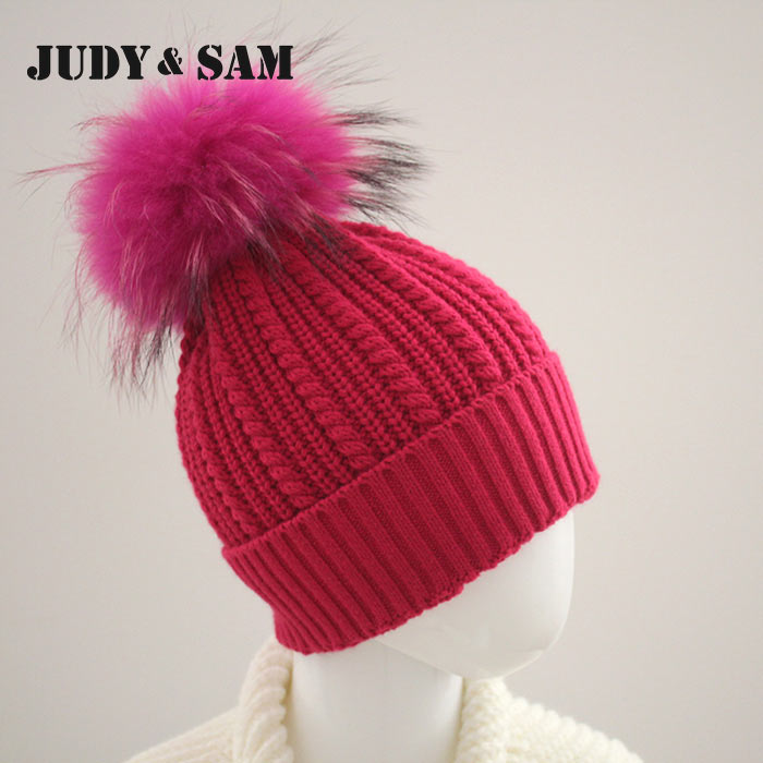 JS FUR Brand Wool Blend Girls Hat Warm Winter con pompones de piel de - Accesorios para la ropa - foto 2