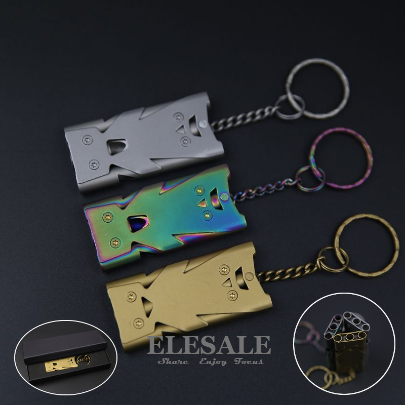 High Quality Stainless Steel Emergency Survival Whistle For Outdoor Camping Emergency Survival With Key Chain Gift Box