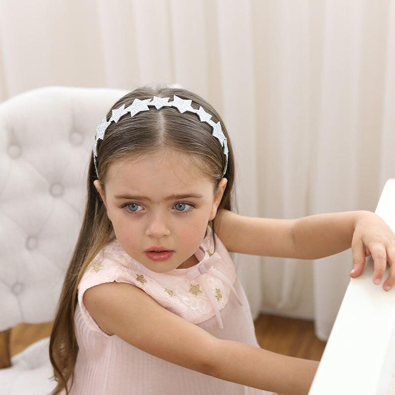 New Shimmer Powder Silvery Pointed Star Hair Hoop Boutique Baby Hairbands Princess   Headwear   Girls Accessories Children Headbands
