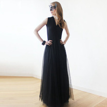 Eightree Mysterious Masquerade Evening Dress Black Elegant V-neck Prom Simple Design Soft Material Custom Made Party