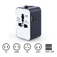 Universal Power Plug Travel Adattatore di Conversione Con 2USB Multi-Presa Ciabatta Viaggi AU UK US EU Plug Adapter