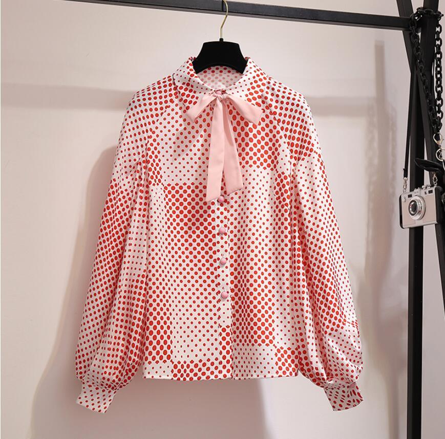 Mousseline de soie chemise femmes mode Design coréen mode dames Blouse hauts lanterne manches à pois haut manches longues femme chemise
