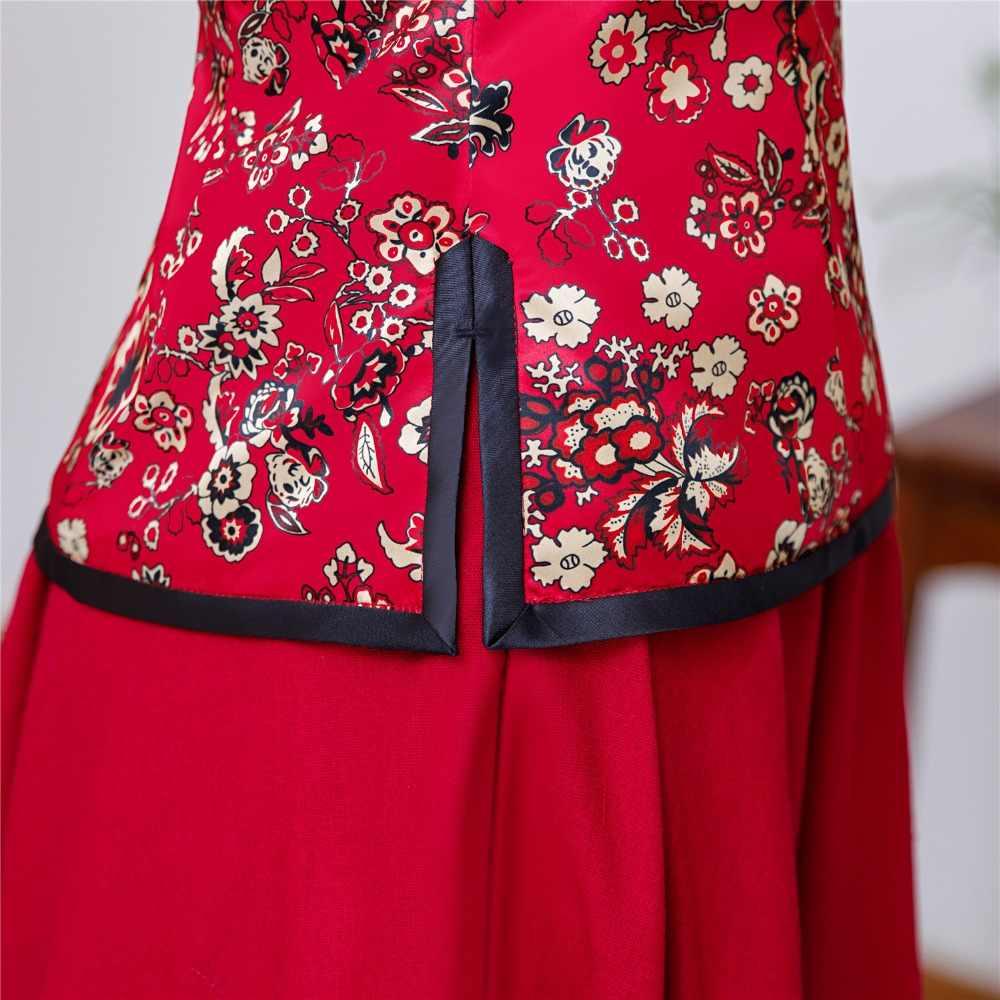 46e333e9f0e ... Shanghai Story Floral Cheongsam Shirt Qipao Top 3 4 Sleeve Chinese  Traditional Top Faux Silk ...