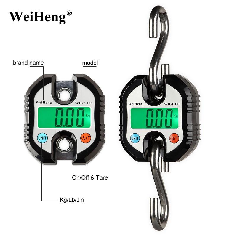 Original WeiHeng 150kg x 50g mini Heavy Duty Electronic Digital Hook Scale Hanging Crane Scale LCD Balance Weight 2 0 lcd digital personal body weight scale 150kg 100g 2 x aaa