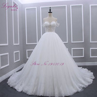 Liyuke H22 Robe De Mariage Strapless A Line Wedding Dress With Pears On The Upper Bust