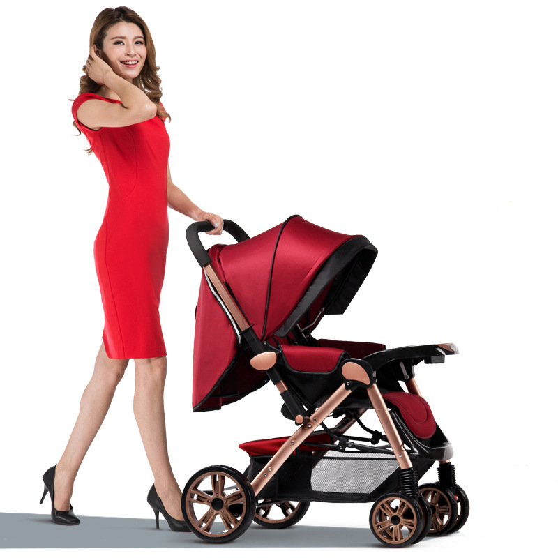 Hot Sale Fashion Baby Stroller Foldable Sit And Lie 5 Point Harness Stroller Baby Stroller