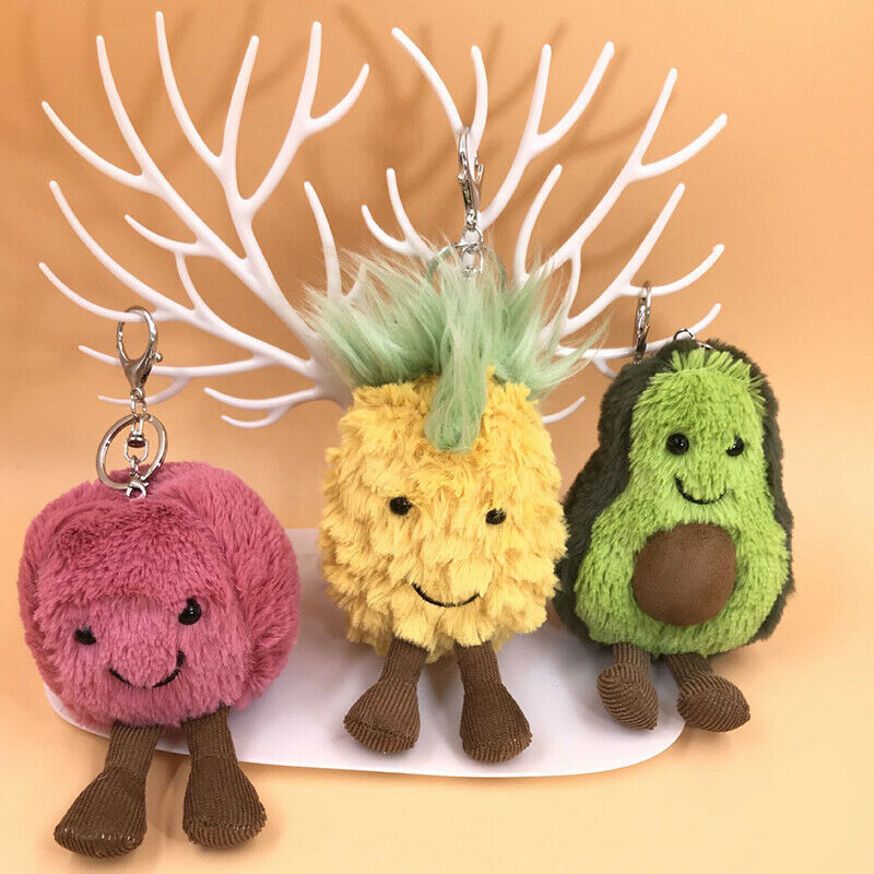 Phander Pendant Dolls Keychain Tote Handbag Decoration Plush Stuffed Fruit Ball Avocado Pineapple Apple Plush Doll Toys Key Ring(China)