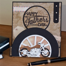 YaMinSanNiO Happy Father Day Fustelle Metal Cutting Dies Diy Card Craft Letter Frame Cut Scrapbooking for Dad Gift Punch