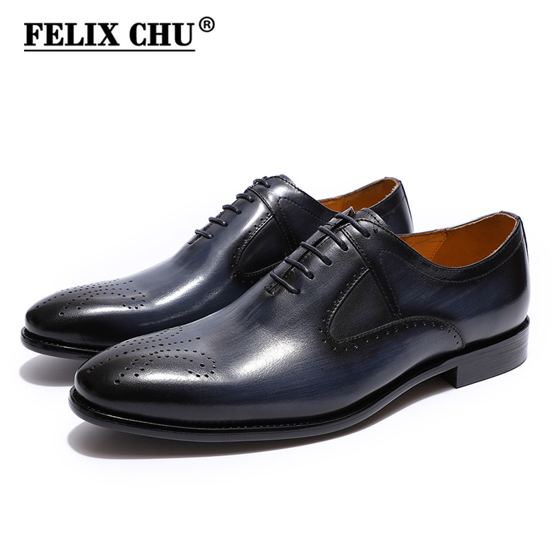 FELIX CHU Men's Modern Dress Shoes Formal Plain Toe Lace up Oxford Shoes Handmade Genuine Leather Men Brogue Blue Wine Red Shoes