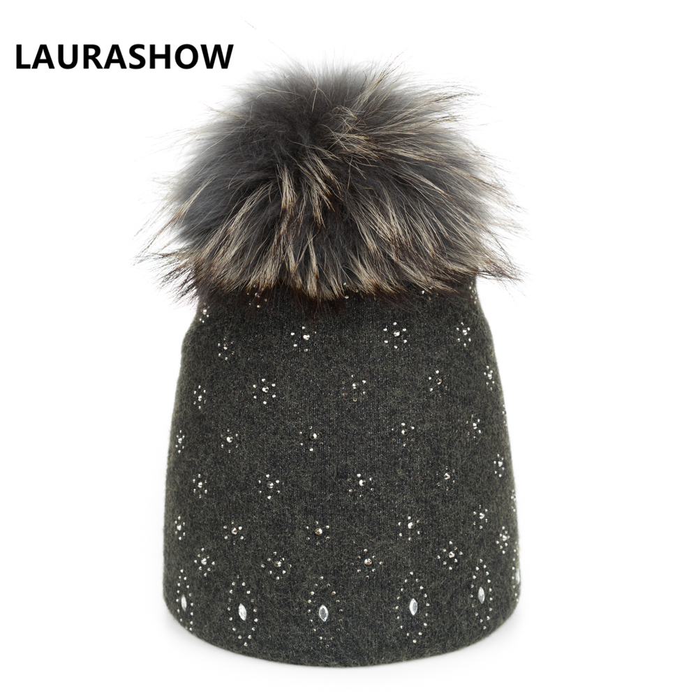 LAURASHOW Knitted Women Hat Fur Hats For Lady Beanies Cap Girl Ball Pom Poms And Wool Knitted Hat New Cap