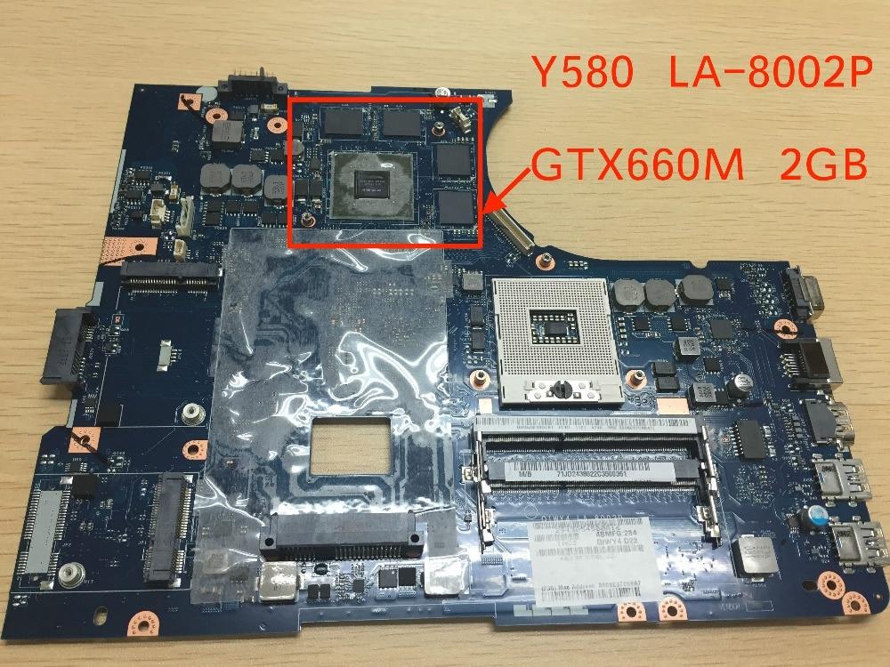 Original New QIWY4 LA-8002P Y580 Motherboard For Lenovo Y580 Laptop GTX660M GPU 2GB jigu new battery l11l6y01 l11s6y01 for lenovo y480p y580nt g485a g410 y480a y480 y580 g480 g485g z380 y480m