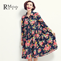 2016 Women's Spring Dresses Elegant Big Flower Floral Printed High Waist Chiffon Women Plus Size Dress(R.Melody TYW027