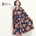 2016 mujeres de primavera vestidos elegante grande de la flor impreso Floral de cintura alta gasa mujeres más el vestido del tamaño ( r. Melody TYW027