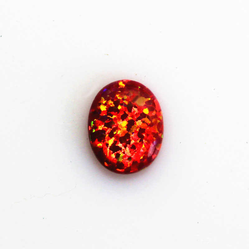 fire opal cherry opal red stone loose beads gemstones oval shape flat base cabochon created gemstone for jewelry making DIY
