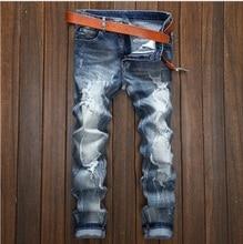 2016 hip-hop Men Jeans masculinaCasual Denim distressed Men's Slim Jeans pants Brand Biker jeans skinny rock ripped jeans 089030
