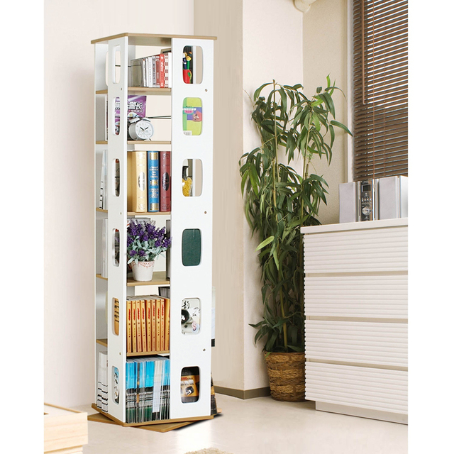 Home Yat simple rotating bookshelf bookcase shelf creative Floor Stands cd  rack Newspaper rack Newspaper rack